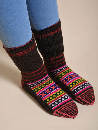 Multicolor Hand Knitted Wool Socks