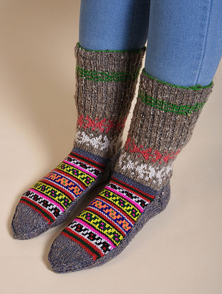 Multicolored Hand Knitted Wool Socks