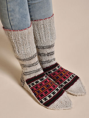Ivory-Pink Hand Knitted Wool Socks