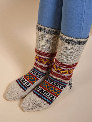 Beige-Red Hand Knitted Wool Socks