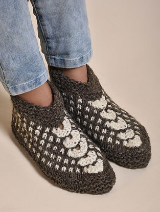 Grey Hand Knitted Wool Socks