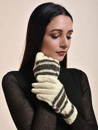 Ivory-Black Hand Knitted Wool Gloves