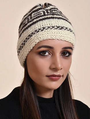 Ivory-Black Hand Knitted Wool Cap