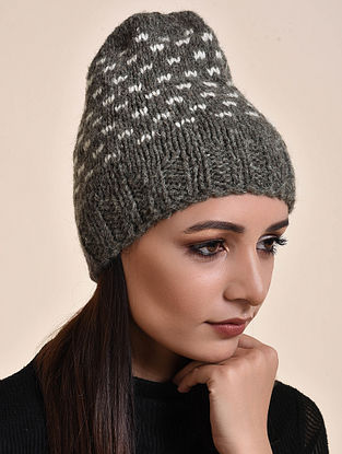 Grey-Ivory Hand Knitted Wool Cap