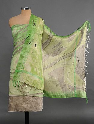 Green Handwoven Marble Printed Cotton Suit Fabric (Set of 3)