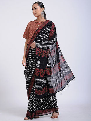 Black-Red Block-printed Muga Cotton Saree with Tassels