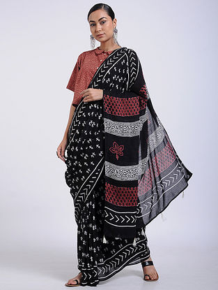 Black-Ivory Block-printed Muga Cotton Saree