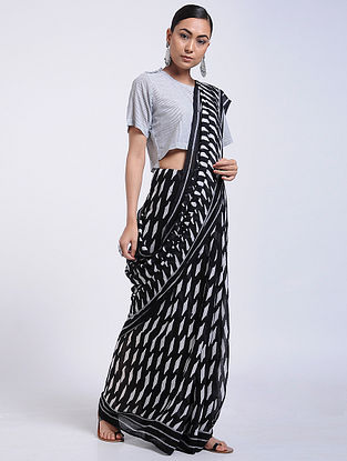 Black-Ivory Block-printed Muga Cotton Saree with Tassels