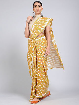 Yellow-Ivory Block-printed Mul Cotton Saree