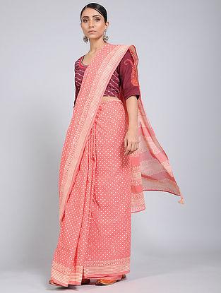Pink-Ivory Block-printed Mul Cotton Saree