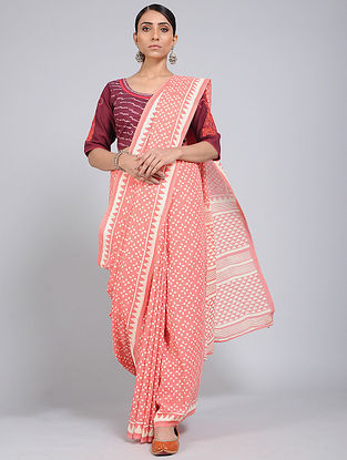 Pink-Ivory Block-printed Mul Cotton Saree