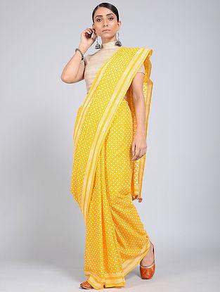 Yellow-Ivory Block-printed Mul Cotton Saree