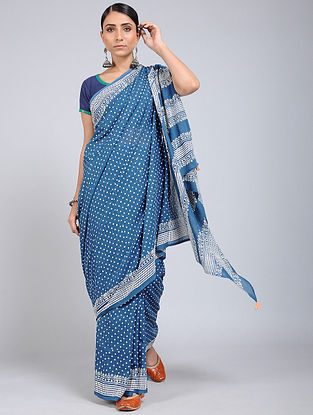 Blue-Ivory Block-printed Mul Cotton Saree