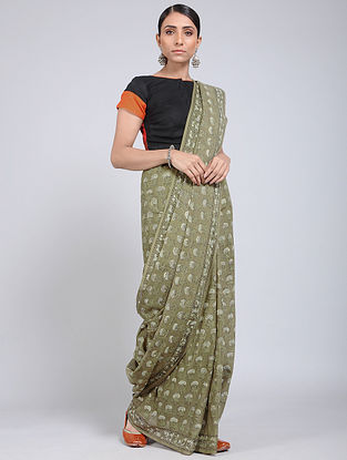Green-Ivory Block-printed Mul Cotton Saree