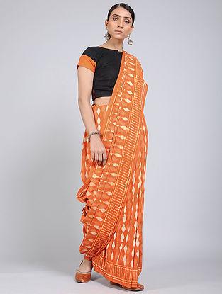 Orange-Ivory Block-printed Mul Cotton Saree