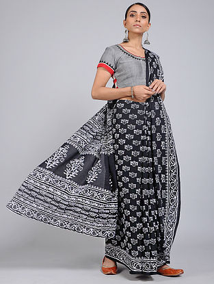 Black-Ivory Block-printed Mul Cotton Saree