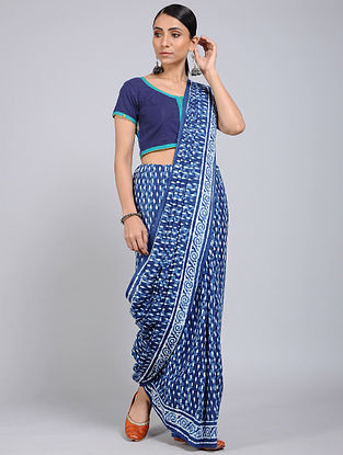 Blue-Ivory Block-printed Mul Cotton Saree