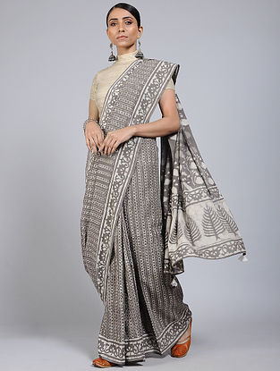 Kashish-Ivory Block-printed Mul Cotton Saree