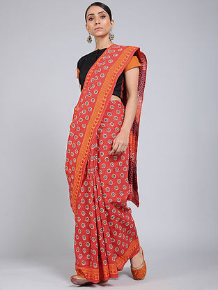 Red-Ivory Block-printed Mul Cotton Saree