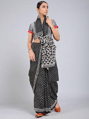 Black-Ivory Block-printed Mul Cotton Saree