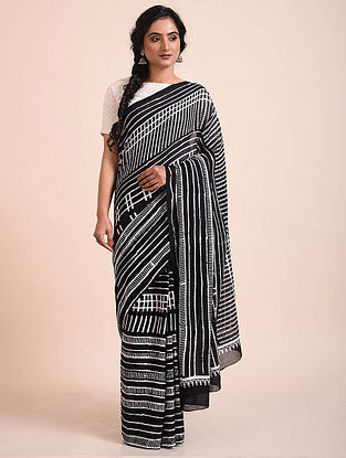 Black-White Block Printed Muga Cotton Saree