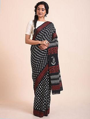 Black-White Block Printed Muga Cotton Saree