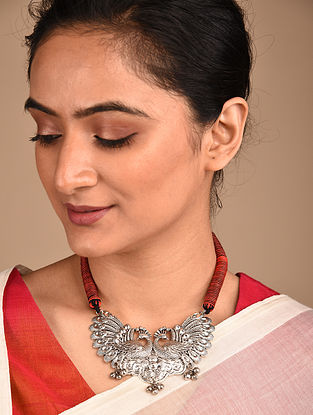 Red Black Silver Tone Handcrafted Necklace