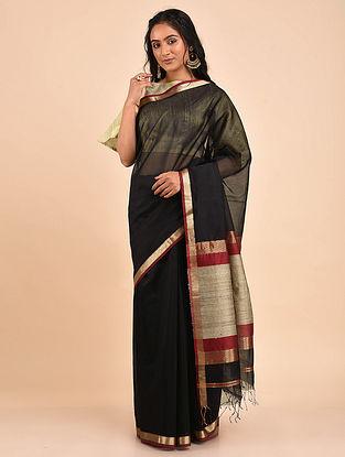 Black Handwoven Maheshwari Saree