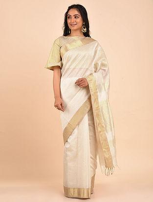 White Handwoven Maheshwari Saree