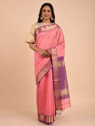 Pink-Purple Handwoven Maheshwari Saree