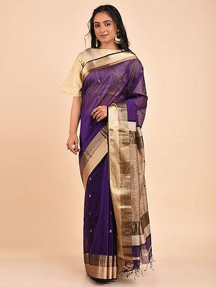 Purple Handwoven Maheshwari Saree