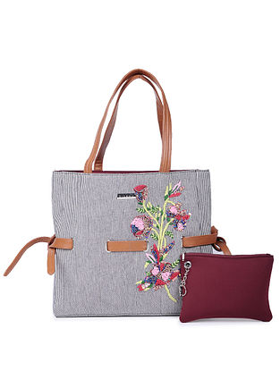 Tan-Multicolored Hand-Embroidered Cotton and Leather Tote