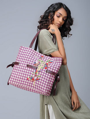 Pink-White Checkered Hand-Embroidered Cotton and Leather Tote