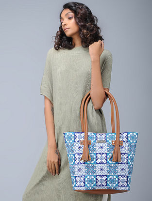 White-Blue Embroidered Cotton Satin and Leather Tote