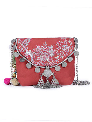 Red Embroidered Suede Sling Bag with Metal Embellishments