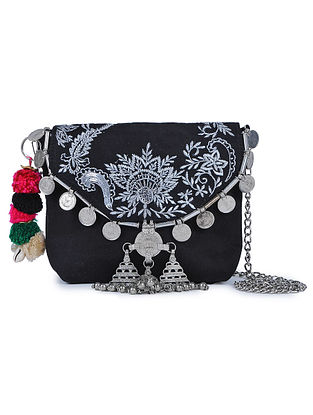 Black Embroidered Suede Sling Bag with Metal Embellishments