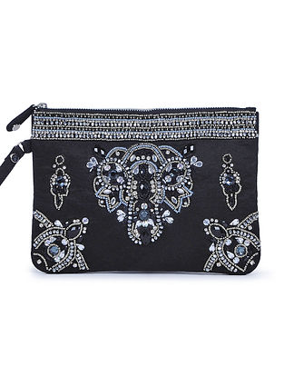 Black Embroidered Suede Clutch