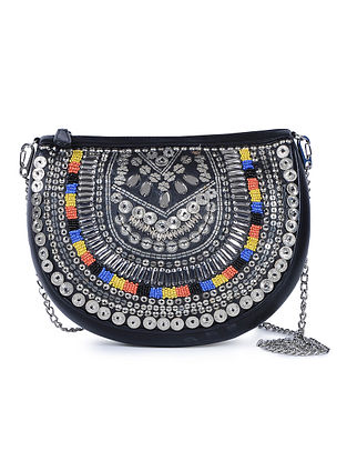 Black Handcrafted Leather Sling Bag with Metal Embellishments