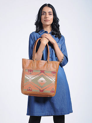 Tan-Multicolored Kilim Leather Tote