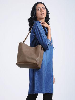 Grey Handcrafted Calf Leather Bucket Bag