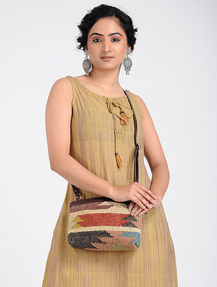 Multicolored Wool Jute Kilim Sling Bag