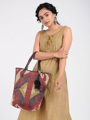 Multicolored Wool Jute Kilim Tote