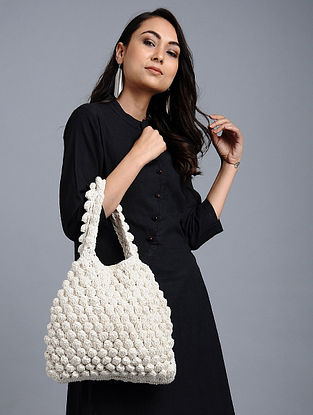 White Cotton Macrame Handbag