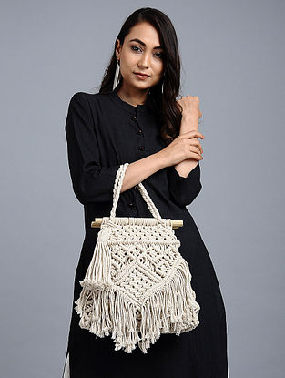 White Wool Jute Kilim Macrame Handbag