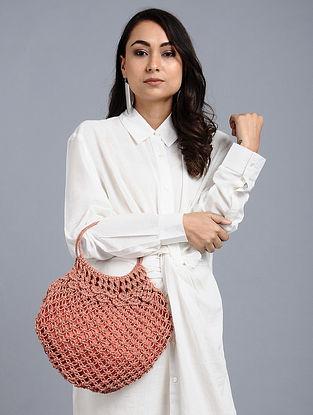 Peach Wool Jute Kilim Macrame Handbag