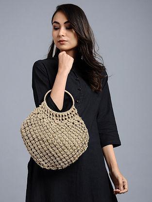 Beige Wool Jute Kilim Macrame Handbag