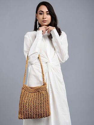 Rust Brown Wool Jute Kilim Macrame Tote Bag