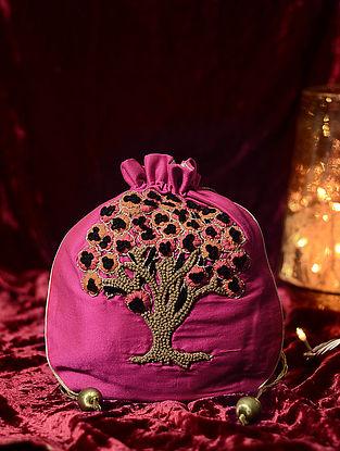 Multicolored Hand Embroidered Cotton Silk Potli