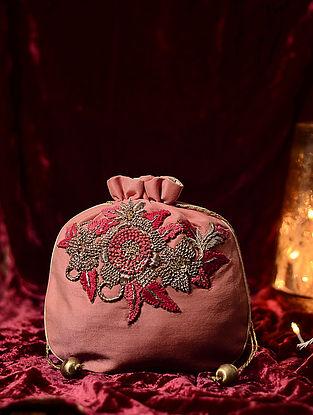 Peach Hand Embroidered Cotton Silk Potli