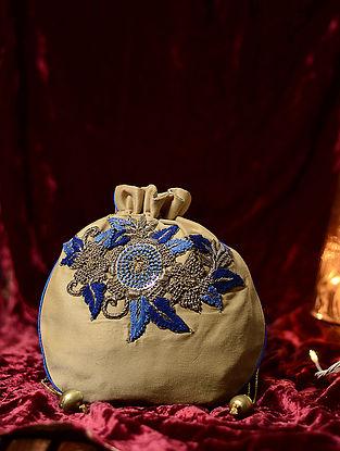 Beige-Blue Hand Embroidered Cotton Silk Potli